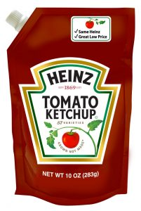 Tomato Ketchup package in a stand up pouch by HEINZ
